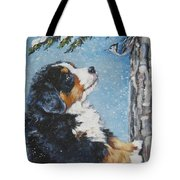 bernese Mountain Dog puppy and nuthatch Tote Bag by Lee Ann Shepard