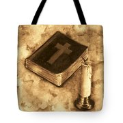 Bible And Candle Tote Bag by Michael Vigliotti