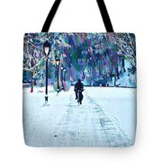 Bike Riding In The Snow Tote Bag by Bill Cannon