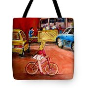 Biking To The Orange Julep Tote Bag by Carole Spandau