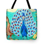 Bird People Peacock King And Peahen Tote Bag by Sushila Burgess