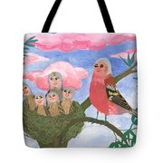 Bird People The Chaffinch Family Tote Bag by Sushila Burgess