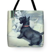 Black And White Dogs Tote Bag by Septimus Edwin Scott