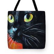 Black Cat Painting Portrait Tote Bag by Svetlana Novikova