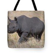Black Rhino On The Masai Mara Tote Bag by Sandra Bronstein