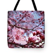 Blossoms Art Blue Sky Spring Tree Blossoms Pink Giclee Baslee Troutman Tote Bag by Baslee Troutman