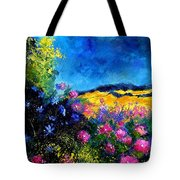 Blue And Pink Flowers Tote Bag by Pol Ledent