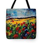 Blue And Red Poppies 45 Tote Bag by Pol Ledent