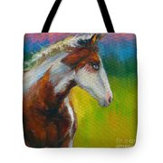 Blue-eyed Paint Horse Oil Painting Print Tote Bag by Svetlana Novikova