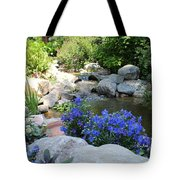 Blue Flowers And Stream Tote Bag by Corey Ford