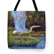Blue Heron In Flight Tote Bag by Susan Jenkins