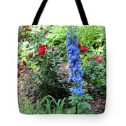 Blue Hollyhock And Red Roses Tote Bag by Corey Ford
