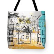 Blue House Tote Bag by Linda Woods