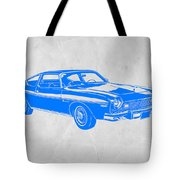 Blue Muscle Car Tote Bag by Naxart Studio