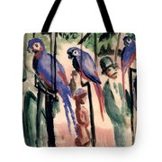 Blue Parrots Tote Bag by August Macke