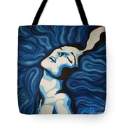 Blue Shimmers Tote Bag by Jindra Noewi