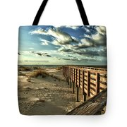 Boardwalk On The Beach Tote Bag by Michael Thomas