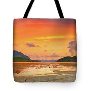 Boat At Sunset Tote Bag by MotHaiBaPhoto Prints