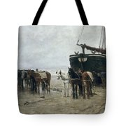 Boat on the Beach at Scheveningen Tote Bag by Anton Mauve