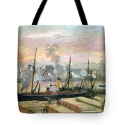 Boats Unloading Wood Tote Bag by Camille Pissarro
