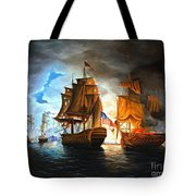 Bonhomme Richard Engaging The Serapis In Battle Tote Bag by Paul Walsh
