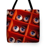 Box Full Of Doll Eyes Tote Bag by Garry Gay