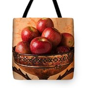Brass bowl with fuji apples Tote Bag by Garry Gay