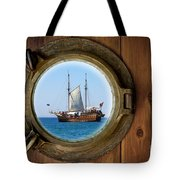Brass Porthole Tote Bag by Carlos Caetano