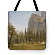Bridal Veil Falls Yosemite Valley California Tote Bag by Albert Bierstadt