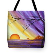 Brilliant Purple Golden Yellow Huge Abstract Surreal Tree Ocean Painting Royal Sunset By Madart Tote Bag by Megan Duncanson