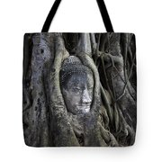 Buddha Head In Tree Tote Bag by Adrian Evans