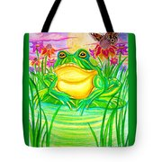 Bull Frog And The Moon Tote Bag by Nick Gustafson
