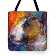 Bull Terrier Dog Painting Tote Bag by Svetlana Novikova