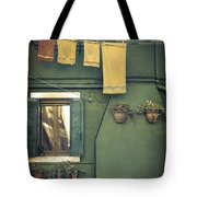 Burano - green house Tote Bag by Joana Kruse