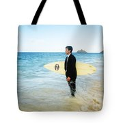 Business man at the beach with surfboard Tote Bag by Brandon Tabiolo - Printscapes