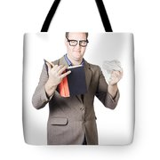 Businessman With Book And Crumpled Paper Tote Bag by Ryan Jorgensen