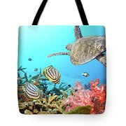 Butterflyfishes And Turtle Tote Bag by MotHaiBaPhoto Prints