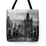 Bw Prague Charles Bridge 04 Tote Bag by Yuriy  Shevchuk