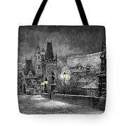 BW Prague Charles Bridge 06 Tote Bag by Yuriy  Shevchuk