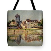 By The River At Vernon Tote Bag by Claude Monet