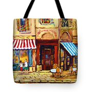 Cafe De Vieux Montreal With Couple Tote Bag by Carole Spandau