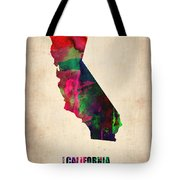 California Watercolor Map Tote Bag by Naxart Studio