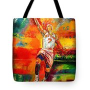 Carmelo Anthony New York Knicks Tote Bag by Leland Castro