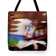 Carousel Horse In Motion Tote Bag by Garry Gay