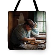 Carpenter - Carving The Figurehead  Tote Bag by Mike Savad