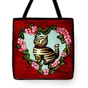 Cat In Heart Wreath 2 Tote Bag by Genevieve Esson