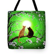 Cats On A Spring Night Tote Bag by Laura Iverson