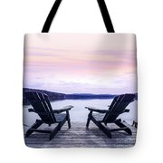 Chairs On Lake Dock Tote Bag by Elena Elisseeva