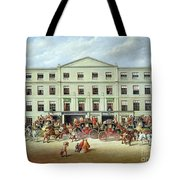 Changing Horses Outside The Plough Inn Tote Bag by JC Maggs