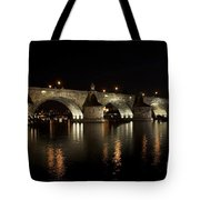 Charles Bridge At Night Tote Bag by Michal Boubin